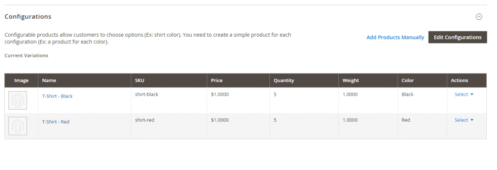 IMPORTING CONFIGURABLE PRODUCTS FOR MAGENTO 2 - List of simple products