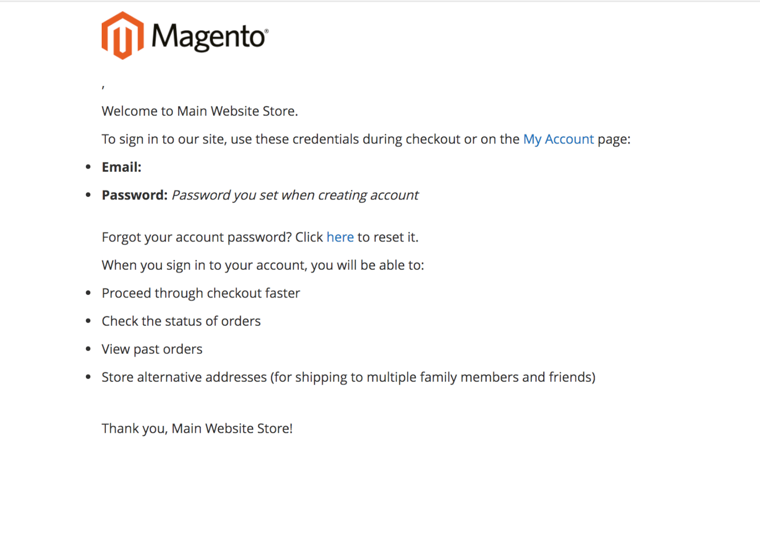 MAGENTO 2 TRANSACTIONAL EMAIL TEMPLATES - New Account