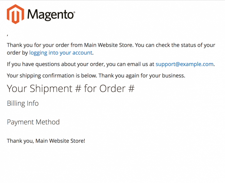 MAGENTO 2 TRANSACTIONAL EMAIL TEMPLATES - New Shipment