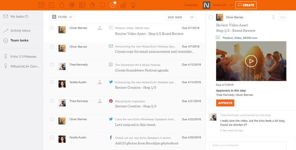 Percolate Marketing Planning Software Screenshot