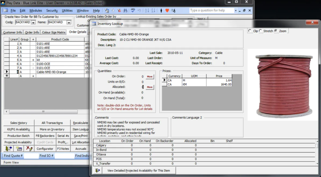 Bluelink Warehouse Management Software Screenshot