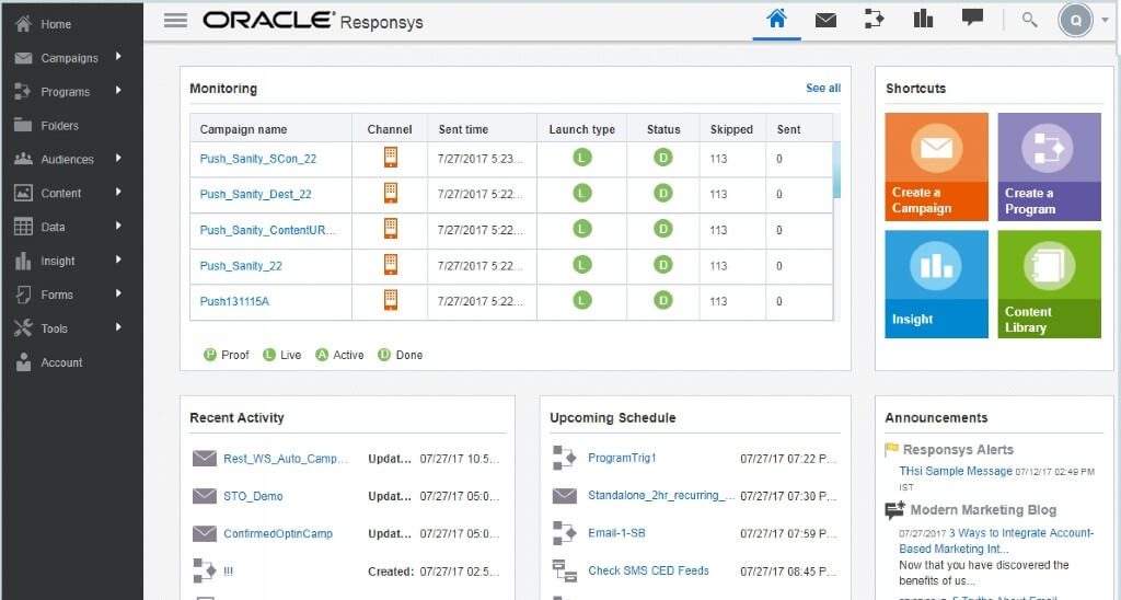 Oracle Responsys Mobile Marketing Software Screenshot