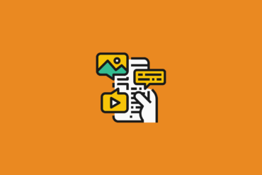 illustration of a hand holding a phone and viewing content marketing with a video icon image icon and text icon