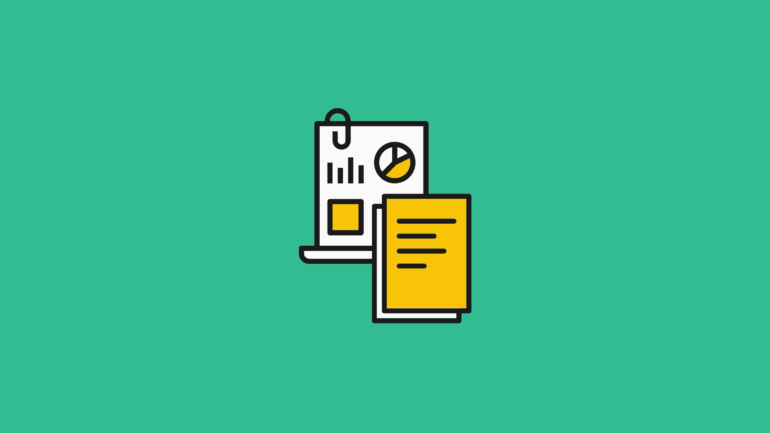 illustration of charts, graphs, document, and ecommerce reports on a green background