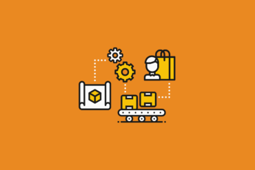 illustration of product lifecycle with blueprint, development, production, and shipping to customer