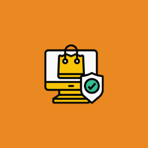 illustration of shopping bag with a secure checkmark on a desktop for ecommerce security threats