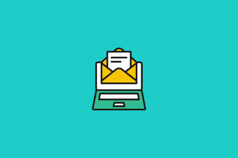illustration of an open email stylized as a letter on a desktop for email subject line best practices