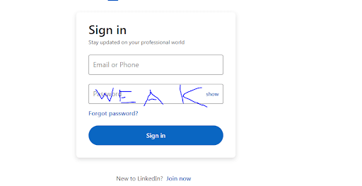 example of sign in page from LinkedIn
