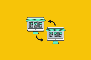 illustration of two desktops dressed up like shop windows for B2B ecommerce platforms