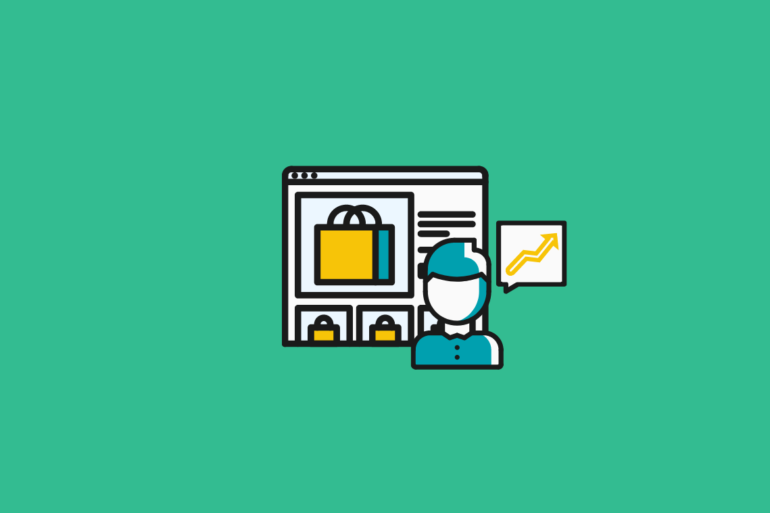illustration of an ecommerce manager in front of an ecommerce site with a trend arrow