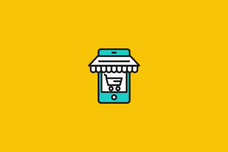 illustration of a shopping cart in a store window for ecommerce platforms for small business