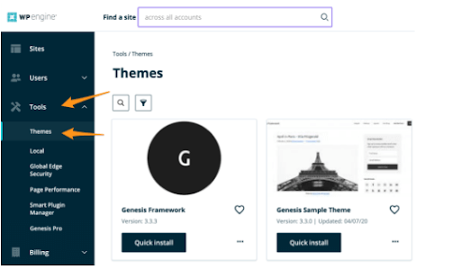 WP Engine screenshot for ecommerce platforms for small business