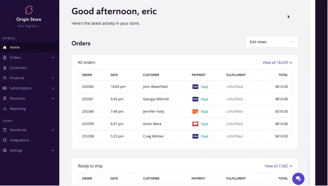 swell screenshot for ecommerce platforms for small business