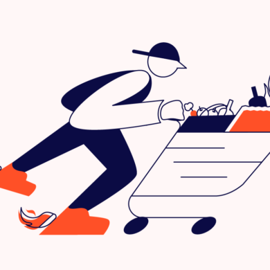 shopper with cart full of food for food ecommerce trends