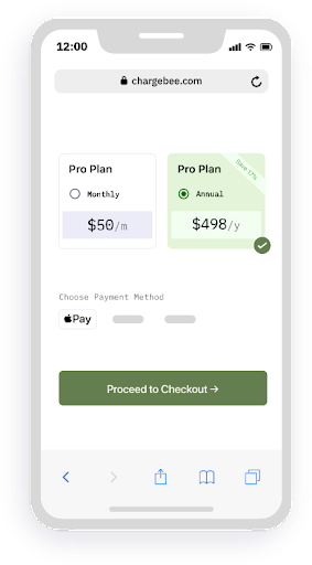 Chargebee mobile ready checkout Screenshot